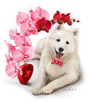 Japanese Spitz and a bouquet of flowers by Kajenna