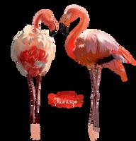 Pink Flamingo watercolor illustration by Kajenna