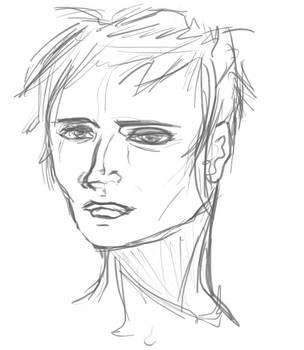 Head Sketch of Delmy by DeusExEm