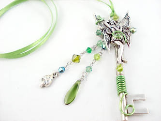 Green Absinthe Fairy Key Necklace by angelyques