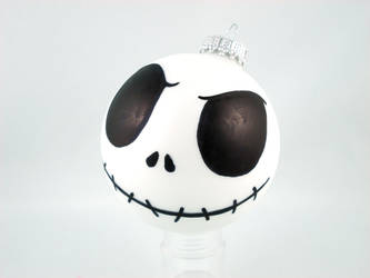 Angry Jack Skellington Glass Ornament by angelyques