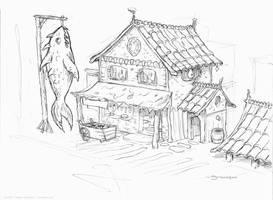 Fish Market sketch by strickart