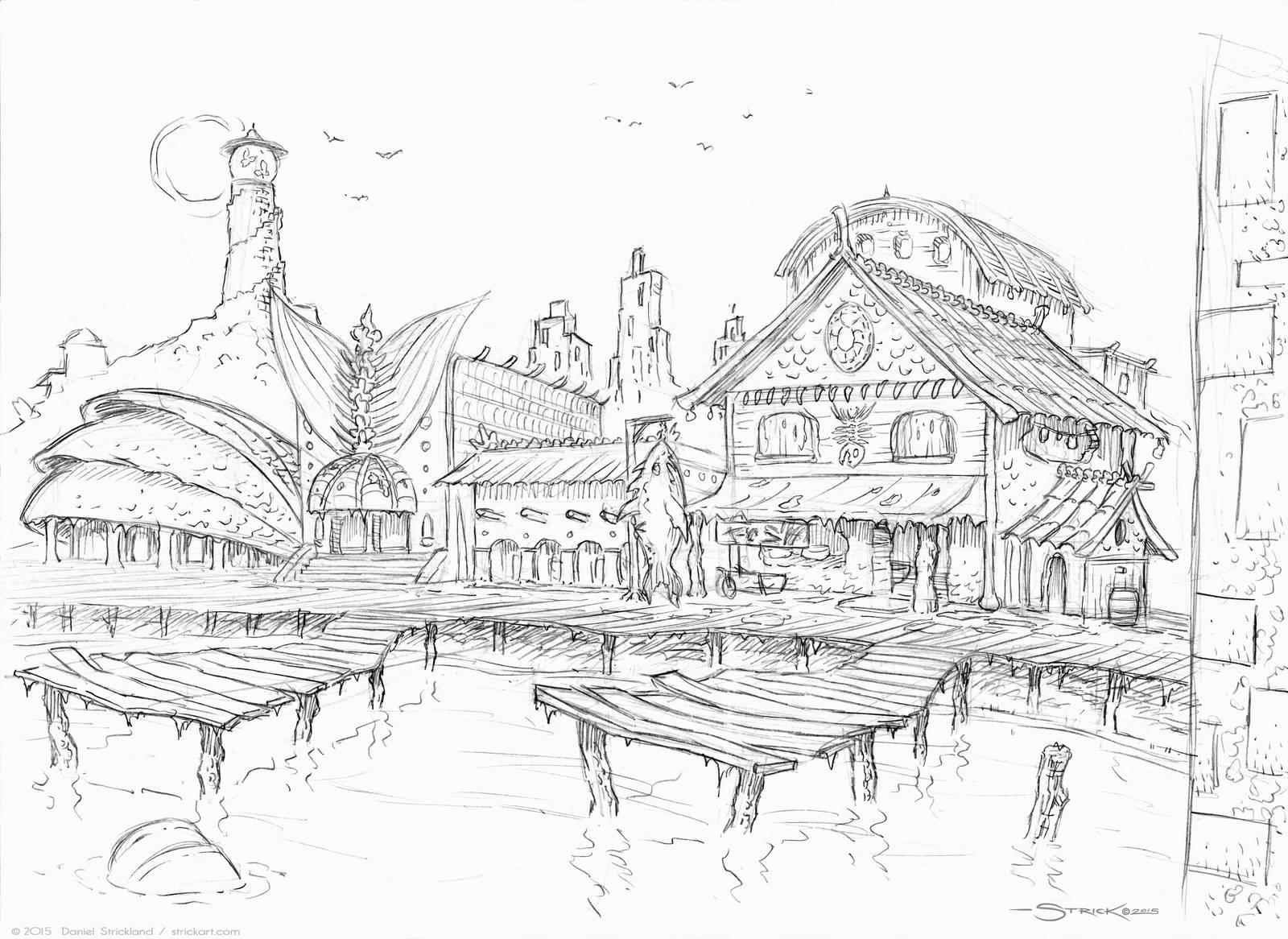 The Docks sketch by strickart