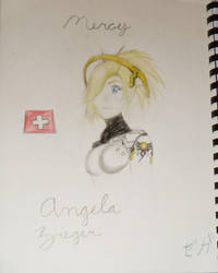 Mercy (Angela Ziegler) Bust Sketchbook Drawing by NammytheCommie