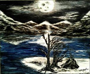 Labyrinthian Lunar Mountain Range by Defiant2Death