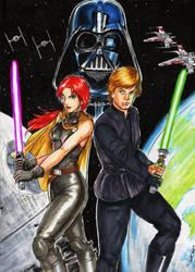 Star Wars Luke Skywalker Mara Jade and Darth Vader by wkohama