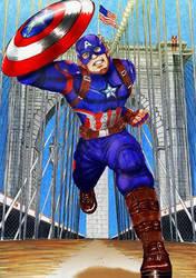 Captain America in Brooklin Bridge by wkohama