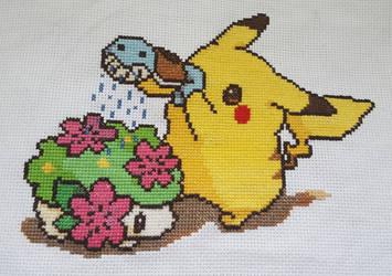 Pikachu and Shaymin cross stitch by Wool-Alchemist