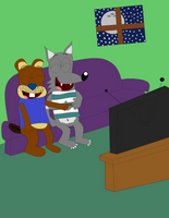 Movie Night at Frank's (Collab Open) by BrendanDoesArt
