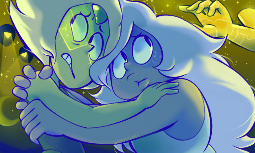 Someone on tumblr suggested amethyst and peridot, aah I realized I haven't drawn them in forever!-- the invasiony background was pretty fun to do too!