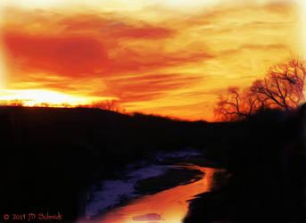Smoky Hill River Sunset Ellsworth KS by MSchmidtProductions