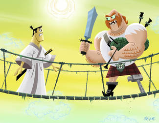 Samurai Jack and the  Scotsman by cretineb