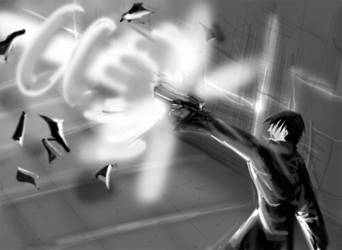 -PS sketch- Blame: Killy+gun by Pepius