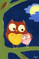 Owl Card by ThinRedThread
