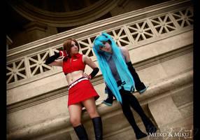 Miku and Meiko Cosplay 02 by Bastetsama-Cosplay