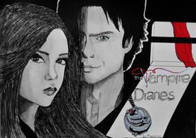 Damon and Elena comics style by Maarel