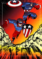 Captain America and the new Patriot (Art by NAT) by Dkalban