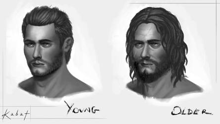 Concept art of a man's face : young/older version by KarolinaKabata
