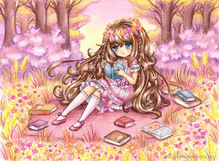C: Reading girl by SilverChaim