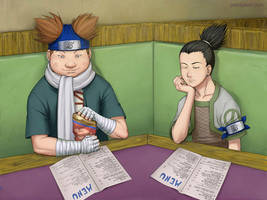 Chouji and Shikamaru by paintpixel