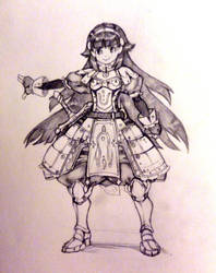 Sketch: Little Sword Girl! by white-angel-ariah