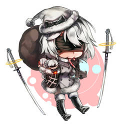NIER: Chibi 2B + Merry Christmas! by white-angel-ariah