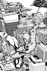Spidey swinging over the city by ElVlasco