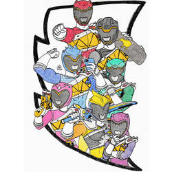 Power Rangers Dino Charge drawing SacAnime by vcheng2k5