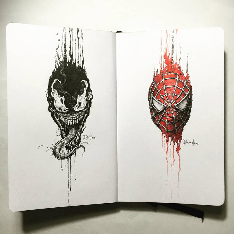 The Dripping Portraits: Venom x Spider-Man by kerbyrosanes