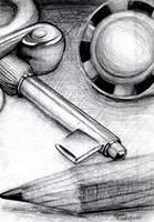 Key, Pencil, Pen by Dreamwish