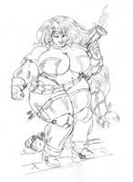 Fatty Red Monika by dwarfpriest