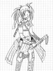 Nunchuck Battle Ready Sari by Taiya001