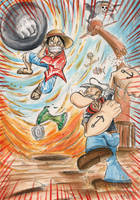 Death Battle: Monkey D. Luffy vs Popeye the Sailor by SoulEaterSaku90