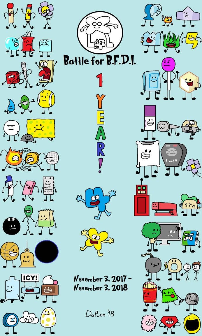 Super Belated 1st Anniversary of Battle for BFDI by TheRandomDevianter2