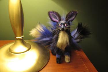 Sitting Three Tailed Night Fox by Lufirel