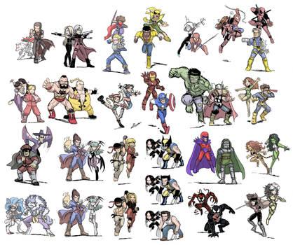 Marvel Capcom Characters Sketch (Colored) by SandikaRakhim