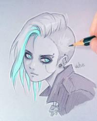 Cirilla - Cyberpunk 2077 [Color] by Vichuis