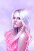 pink hair color study by kadjura