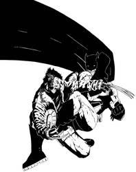 DKR Batman vs DFP Wolverine by steveschnurman