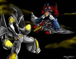 Leader-1 vs Optimus Prime by Giga-Leo