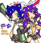 Angel and Sonic as Rin and Len by AngiiAiKukki