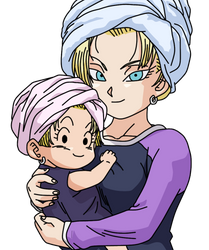 Dragonball Marron and C18 Lineart Farbig by WallpaperZero