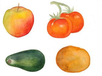 Apple, tomato, avocado and potato by steel--blue