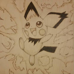 Pichu Wood Burning by StevenWolfOravec
