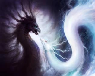 Dragons of Yin and Yang - WIP by JoJoesArt