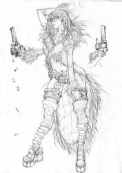 APB feather girl - pencil by arnistotle