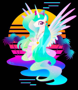 Synthwave Princess Celestia by II-Art