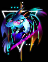 Synthwave Dragon Lord Ember by II-Art