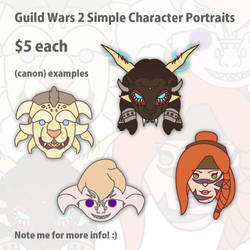 Guild Wars 2 Character Simple Portrait Commissions by II-Art