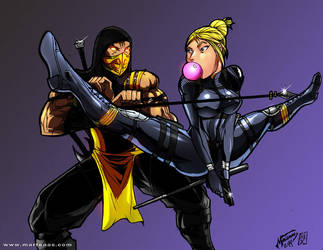 MKX: Scorpion vs Cassie Cage by martenas